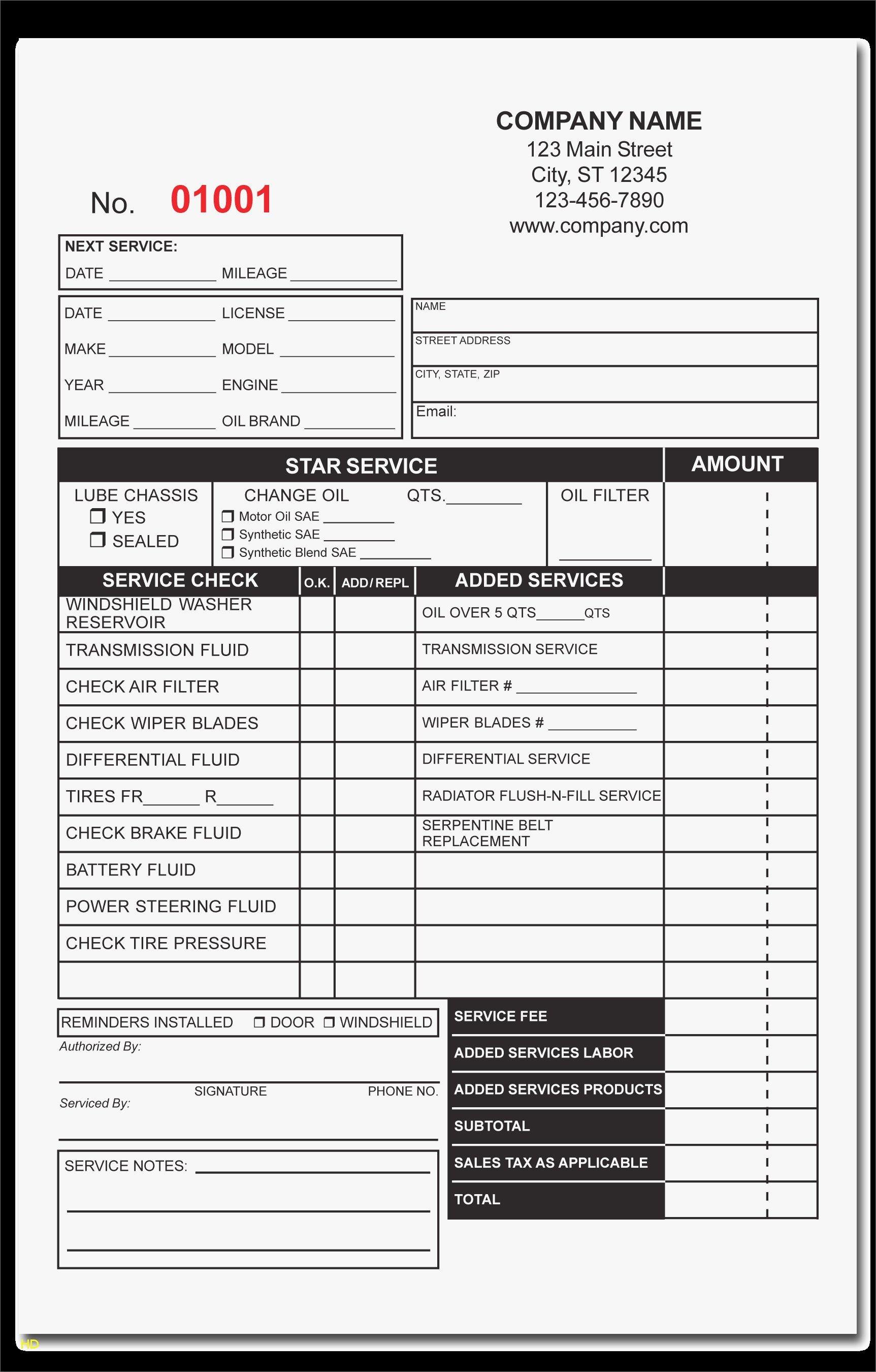 free printable auto repair invoice template