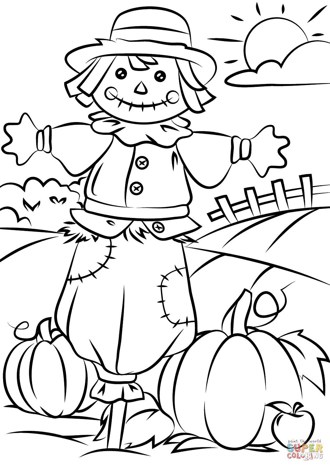 Autumn Scene With Scarecrow Coloring Page | Free Printable Coloring - Free Printable Autumn Coloring Sheets