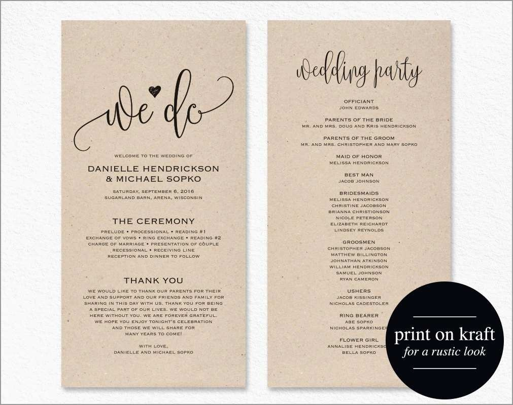 Awesome Free Printable Wedding Program Templates For Word | Best Of - Free Printable Wedding Program Templates Word