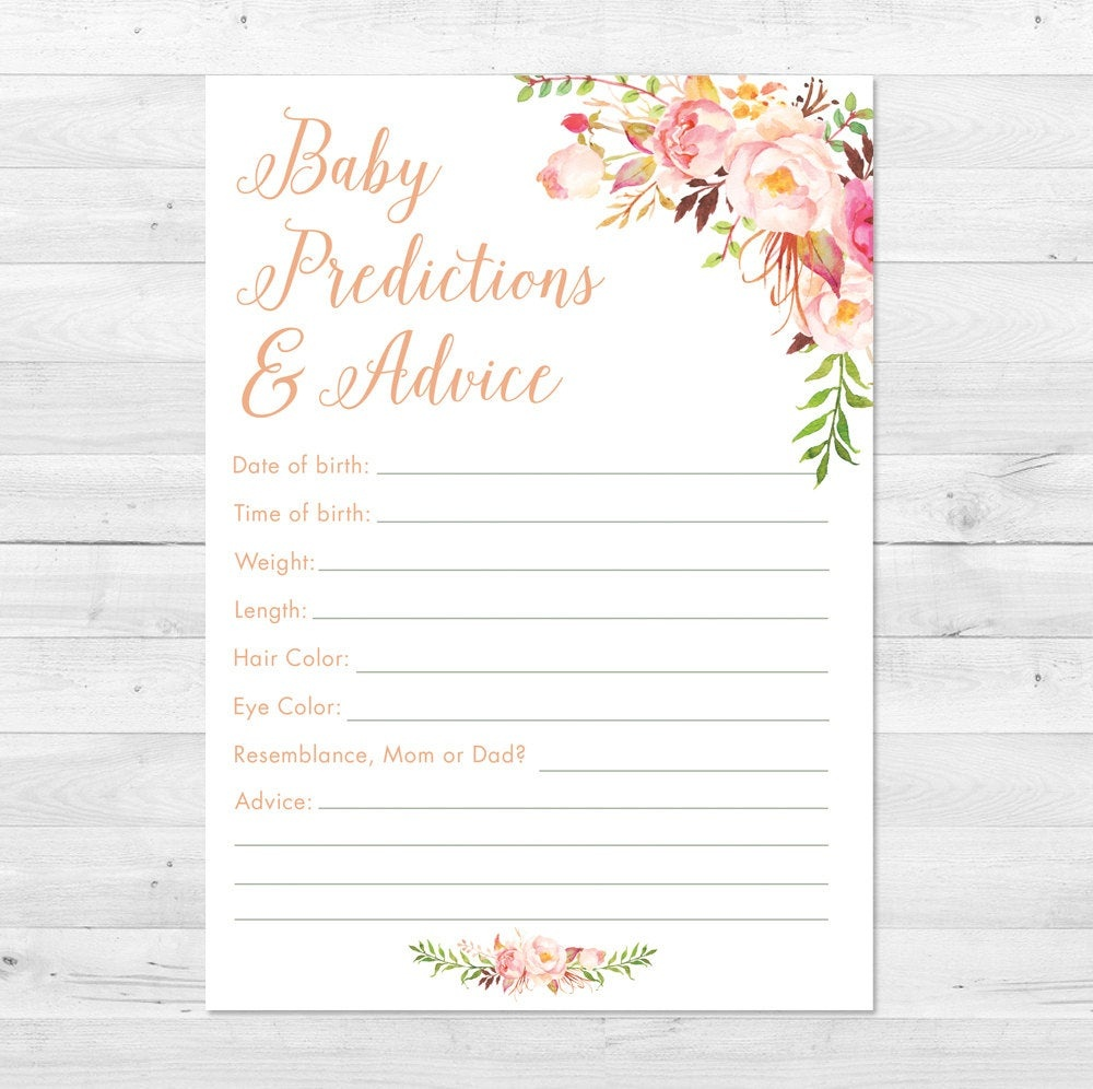 Baby Shower Prediction Card Printable Boho Baby Shower Games | Etsy - Free Mommy Advice Cards Printable