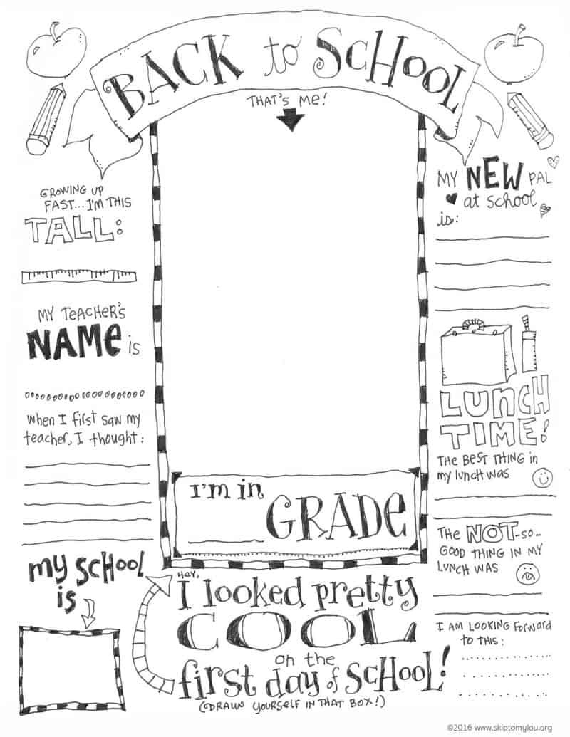 Back To School Coloring Pages | Skip To My Lou - Free Printable First Day Of School Coloring Pages