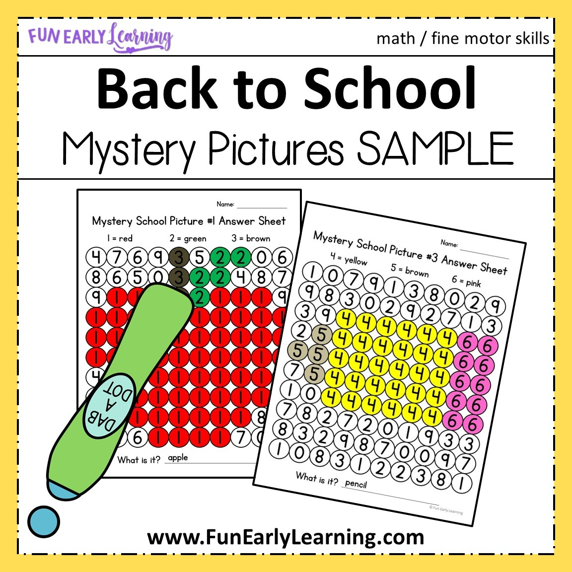 Back To School Math Mystery Pictures For Preschool And Kindergarten - Free Printable Math Mystery Picture Worksheets