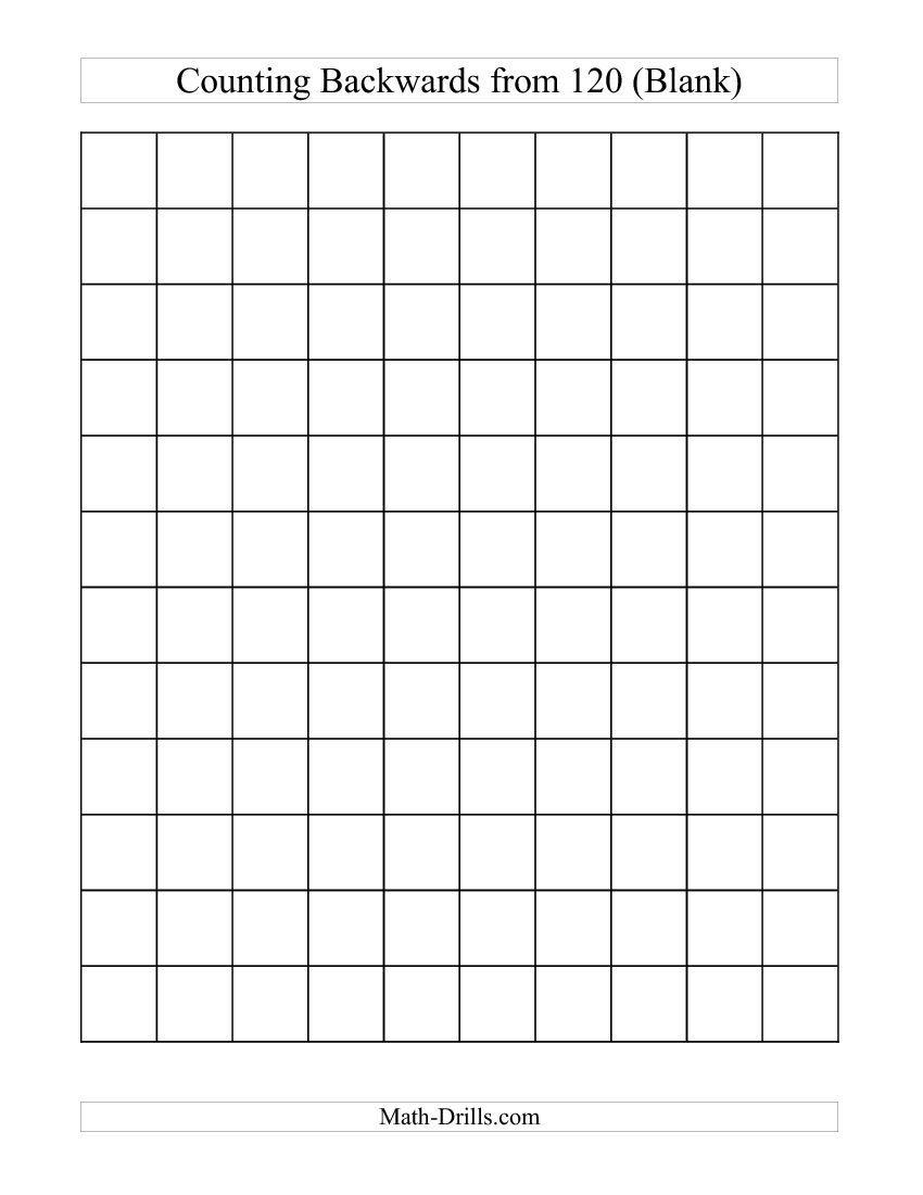 Backwards 120 Chart (Blank) (C) Free Worksheet | Math | 120 Chart - Free Printable Hundreds Chart To 120