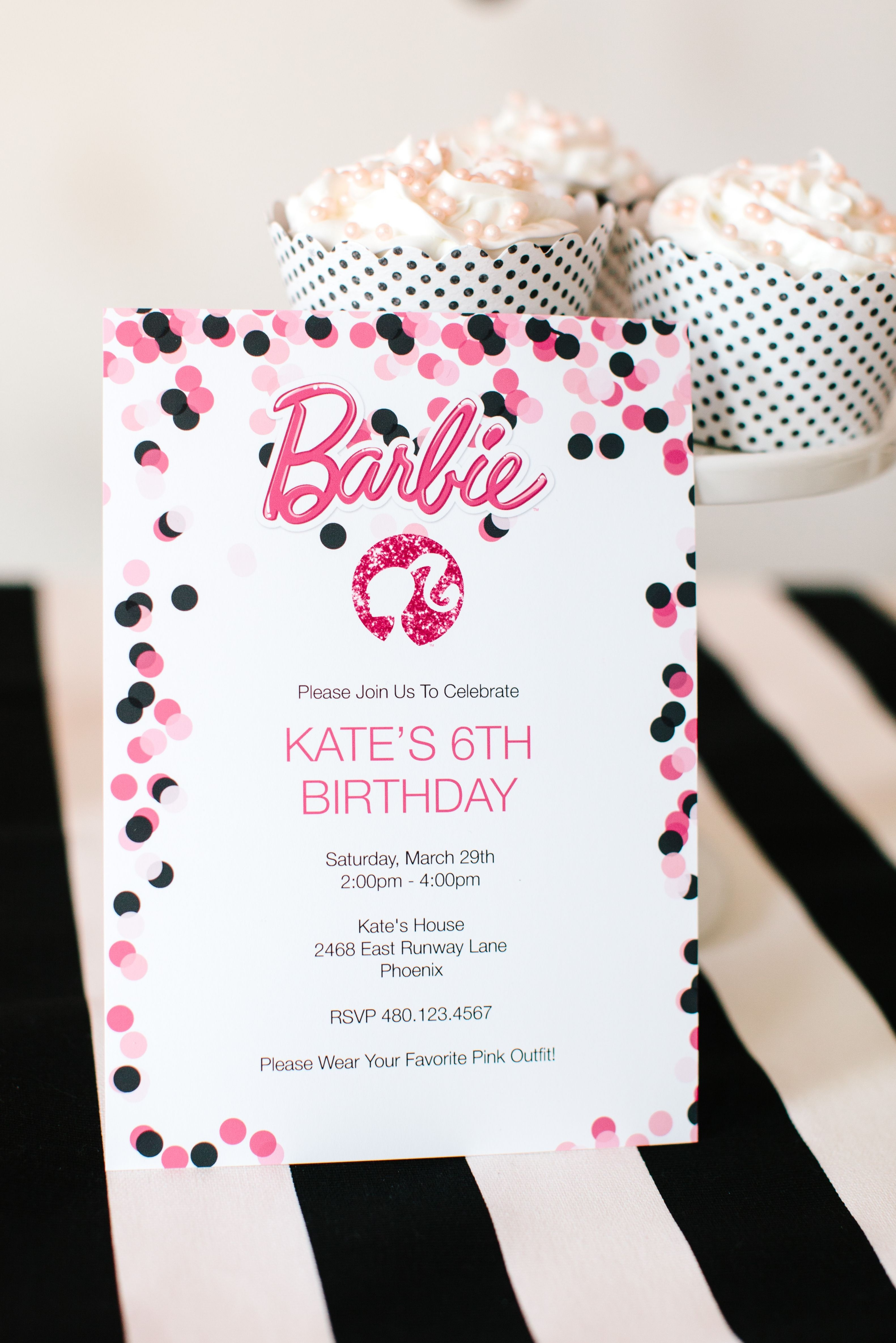 Barbie Birthday Party With Free Printable Barbie Designs - Free Printable Polka Dot Birthday Party Invitations