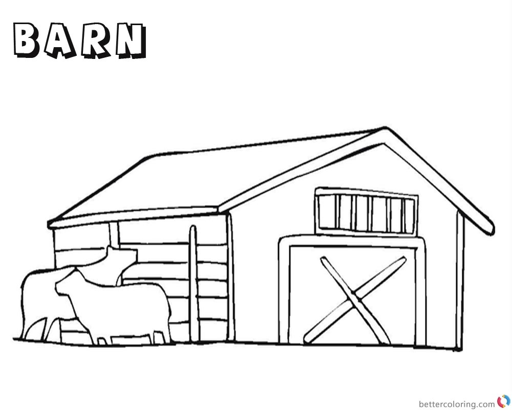 Barn Coloring Pages - Barn Coloring Pages With Two Cows Free - Free Printable Barn Coloring Pages