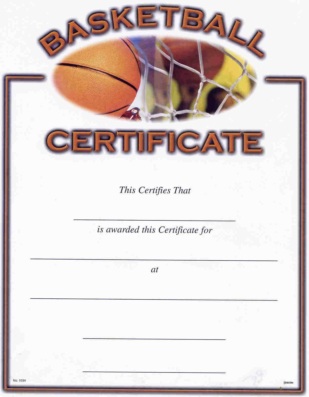 Basketball Award Certificate Templates. Blank Certificate Templates - Basketball Participation Certificate Free Printable