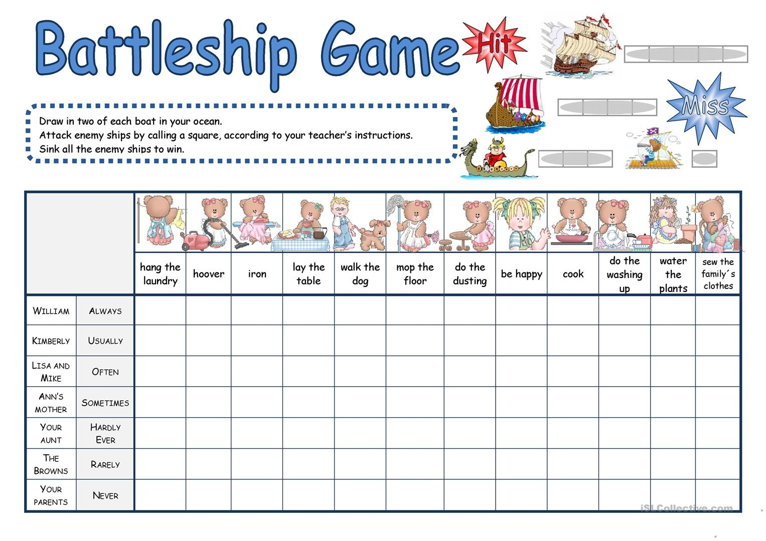 Battleship Game Worksheet - Free Esl Printable Worksheets Made - Free Printable Battleship Game
