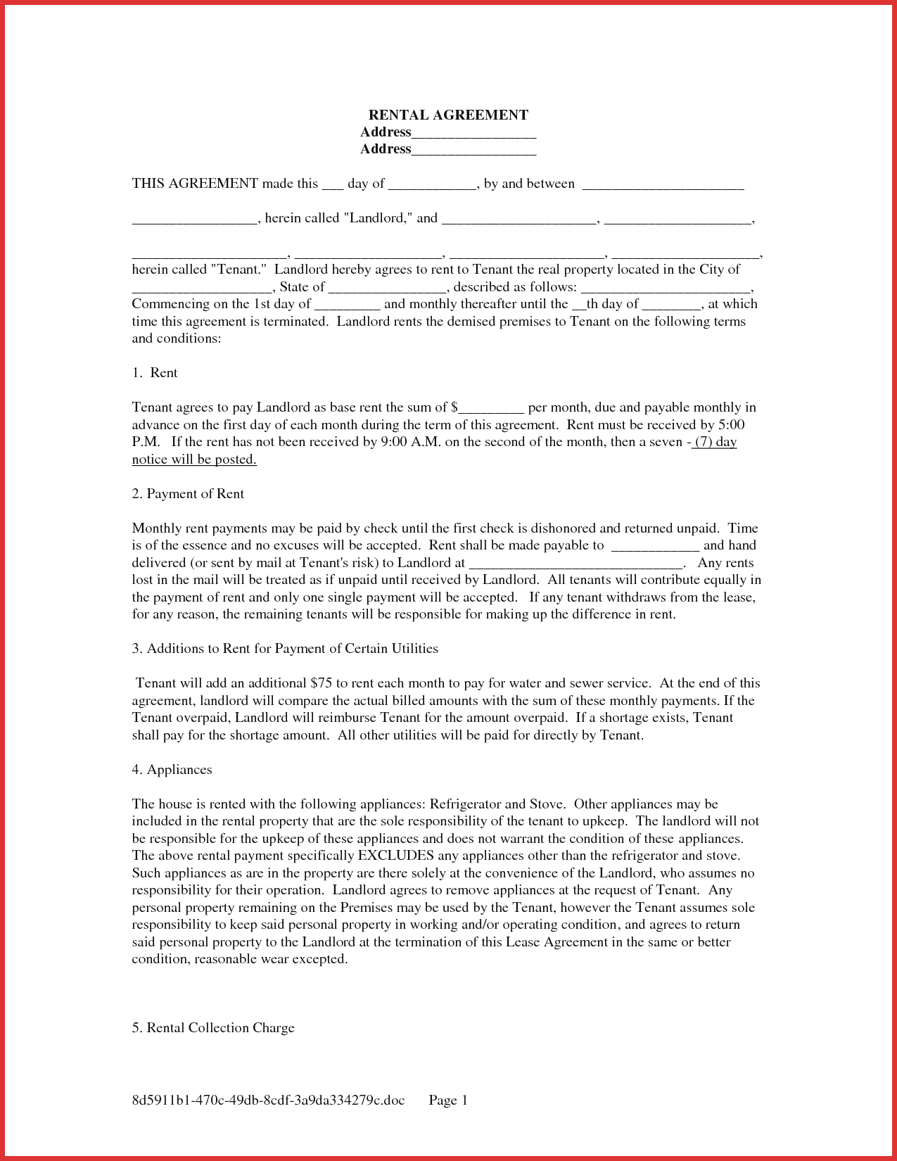 Beautiful Rent Lease Agreement | Cobble Usa - Free Printable Rental Lease Agreement