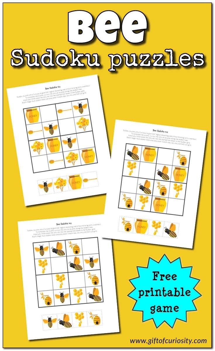 Bee Sudoku {Free Printable} | Free Printable Of The Day | Sudoku - Free Printable Critical Thinking Puzzles