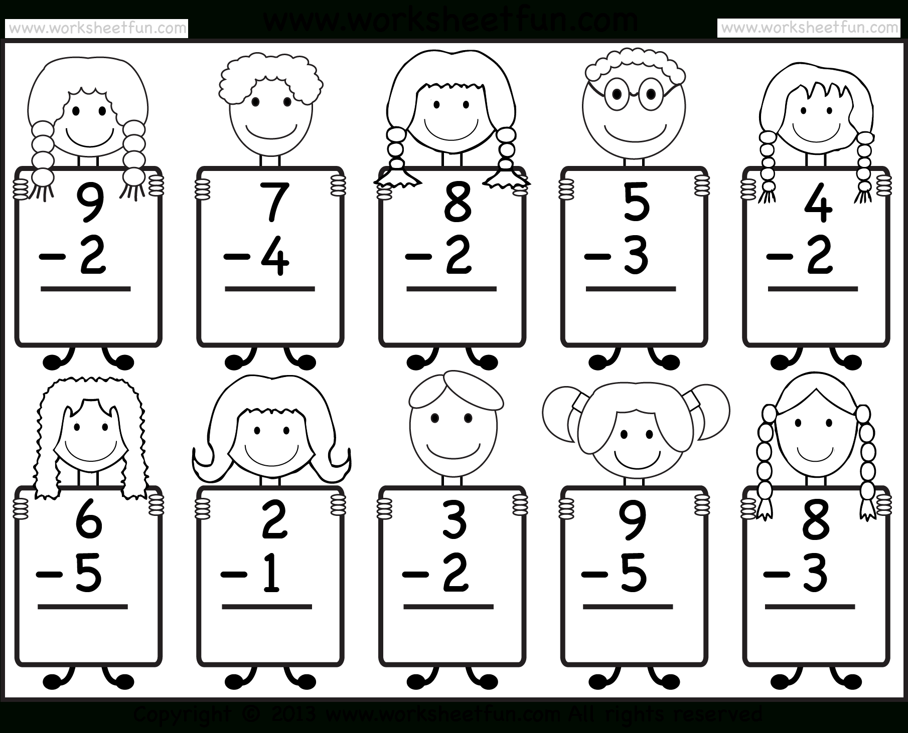 Beginner Subtraction – 10 Kindergarten Subtraction Worksheets / Free - Free Printable Subtraction Worksheets