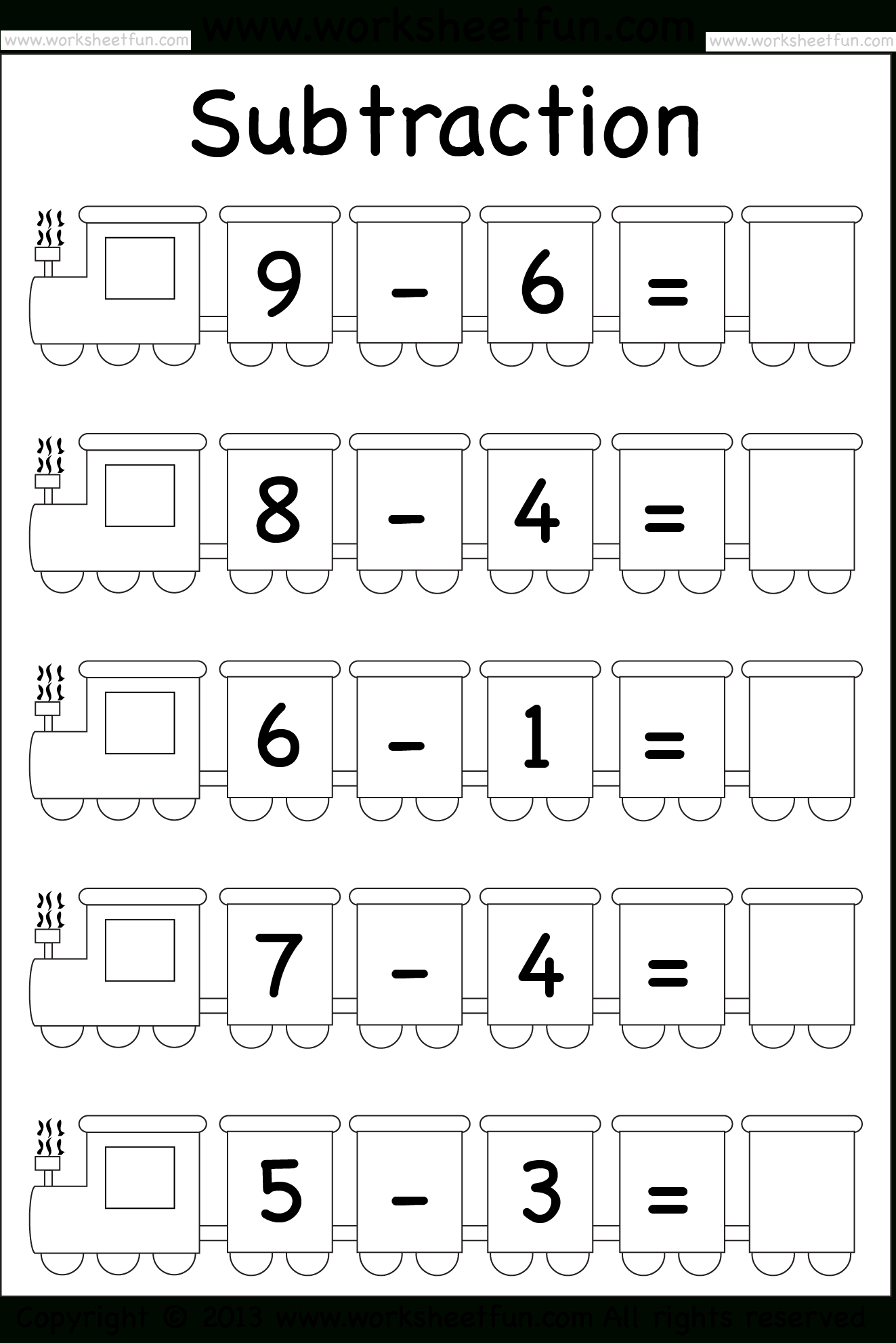 Beginner Subtraction – 5 Kindergarten Subtraction Worksheets / Free - Free Printable Subtraction Worksheets