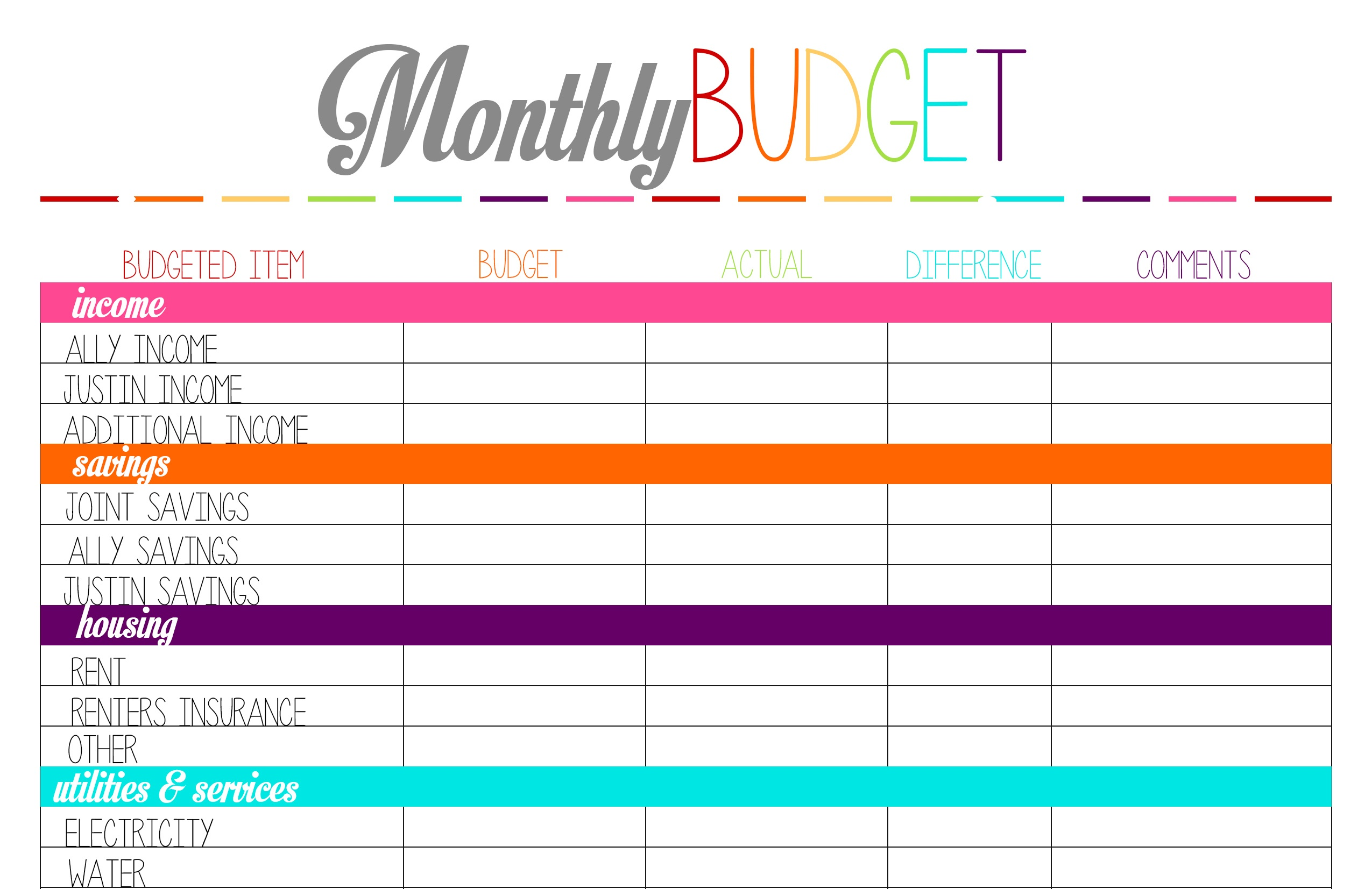 Best Budget Sheets - Kaza.psstech.co - Free Printable Budget Sheets