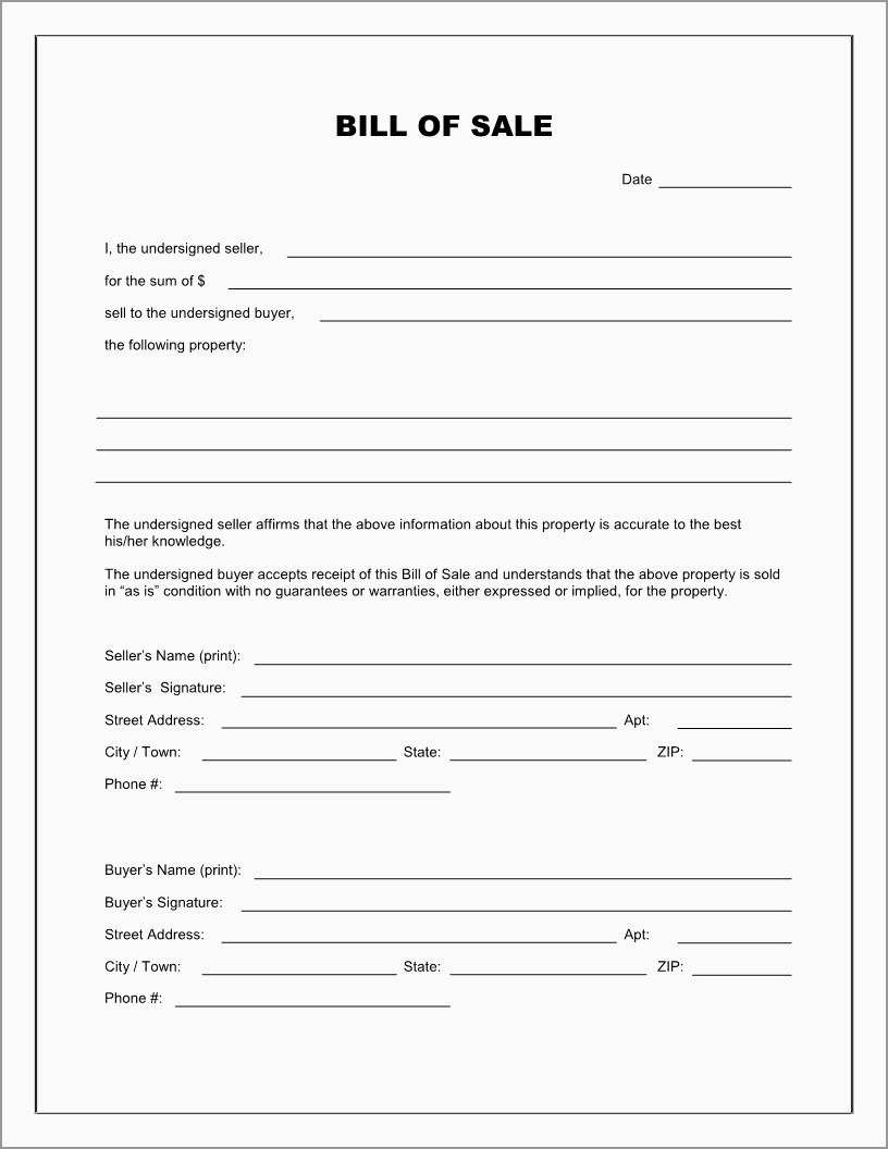 Bill Of Sale Free Template Form Astonishing Best S Of Easy Printable - Free Printable Bill Of Sale Form