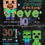 Birthday Invitation. Minecraft Invitation Template   Free Printable Minecraft Birthday Party Invitations Templates