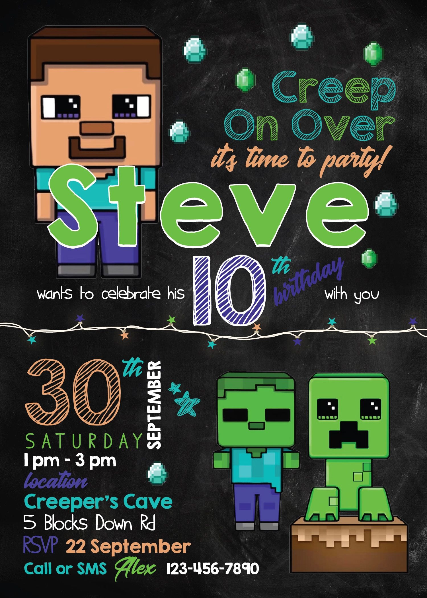 Birthday Invitation. Minecraft Invitation Template - Free Printable Minecraft Birthday Party Invitations Templates