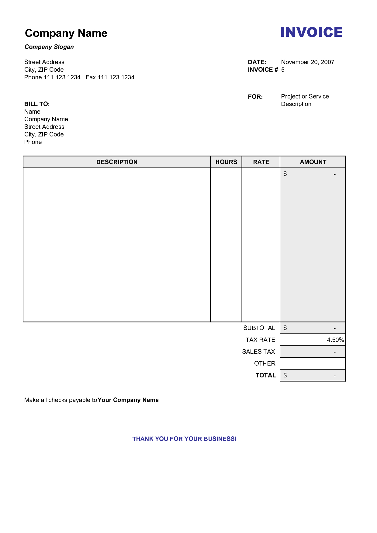Blank Billing Invoice | Scope Of Work Template | Organization - Free Printable Blank Invoice Sheet