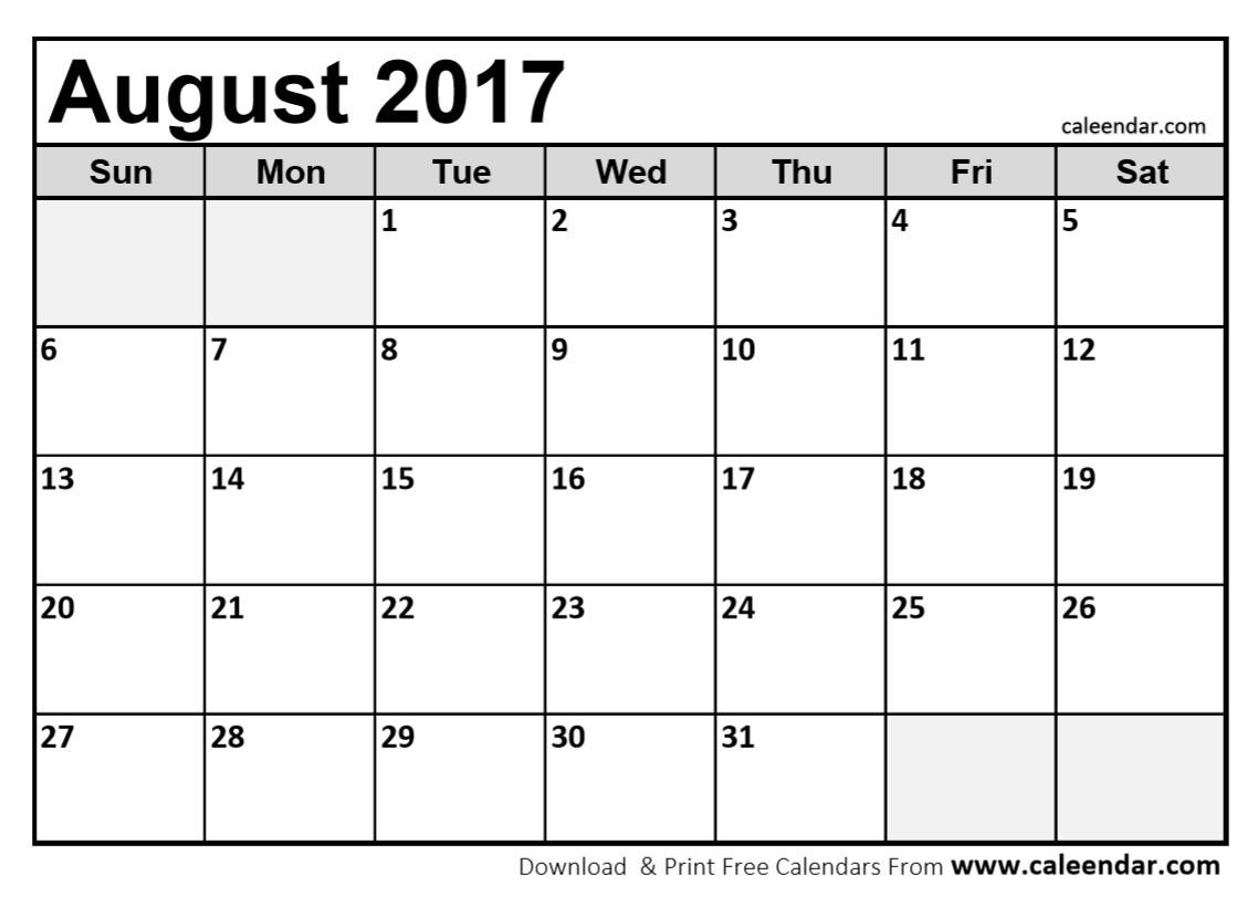 Blank Calendar August 2017 Printable | Hauck Mansion - Free Printable August 2017