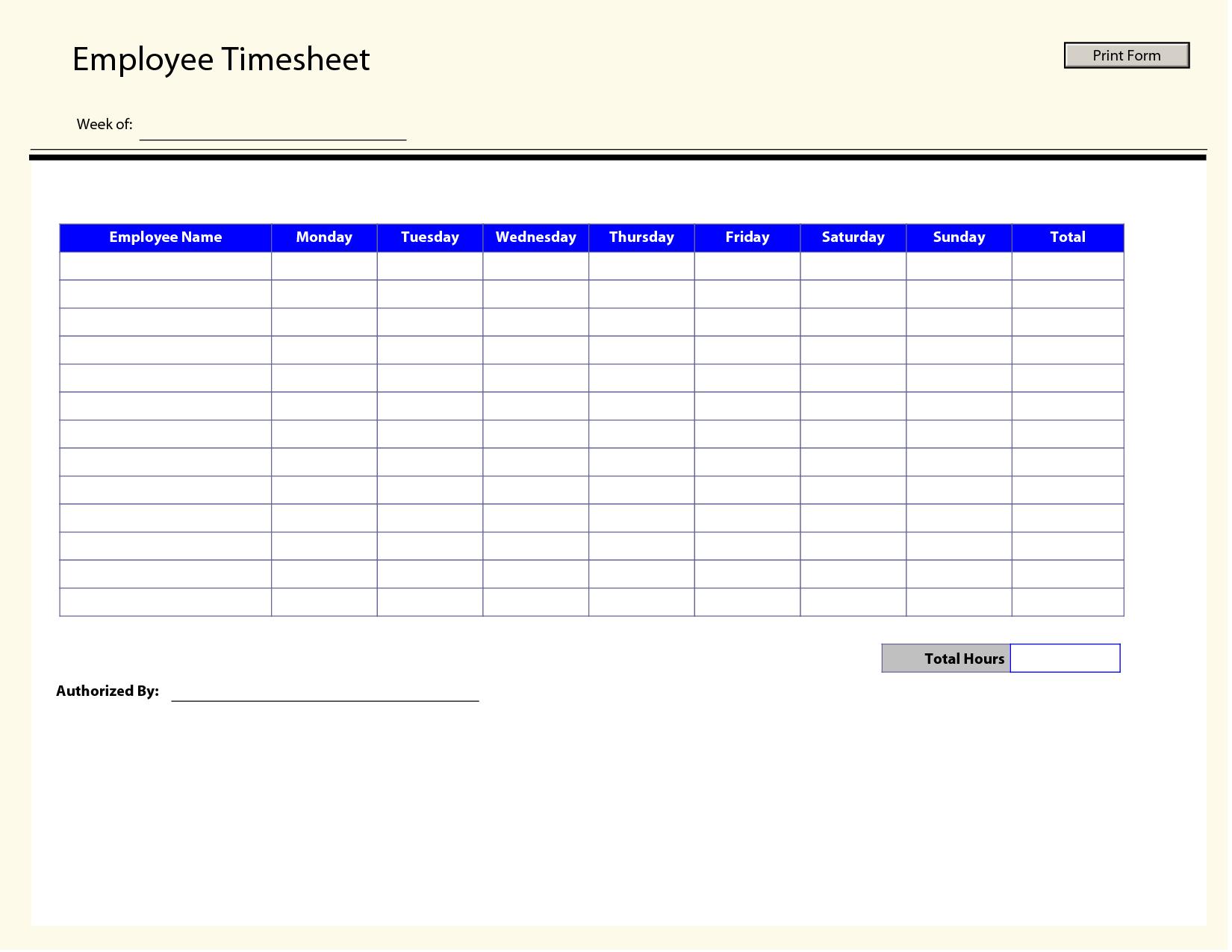 Blank Employee Timesheet Template | Management Templates | Timesheet - Timesheet Template Free Printable