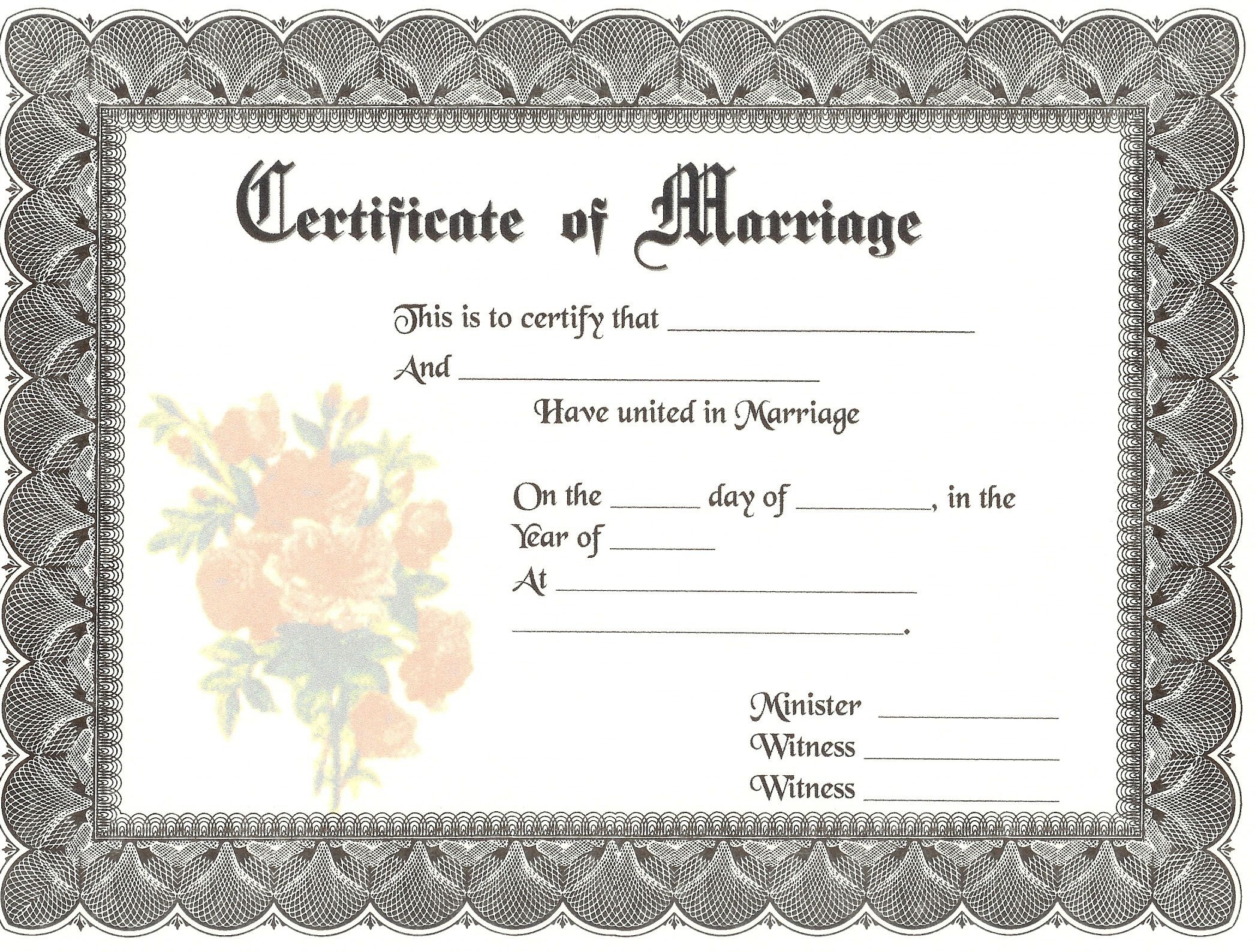 Blank Marriage Certificates | Download Blank Marriage Certificates - Fake Marriage Certificate Printable Free
