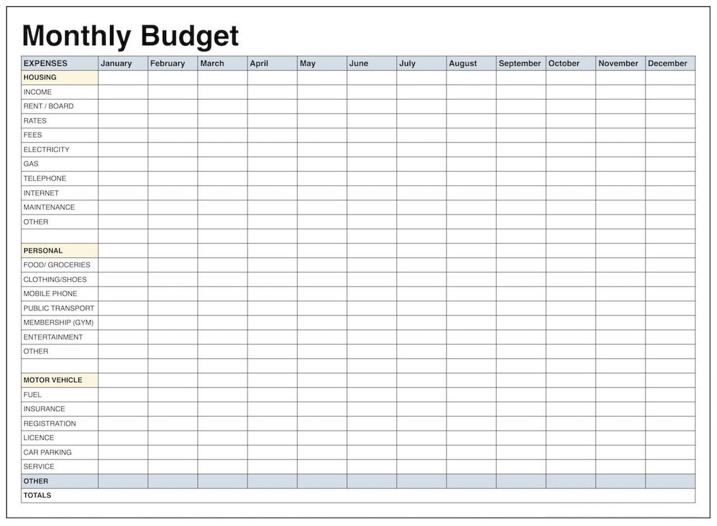 Blank Monthly Budget Template Pdf | Blank Templates | Budgeting - Free Printable Monthly Expense Sheet