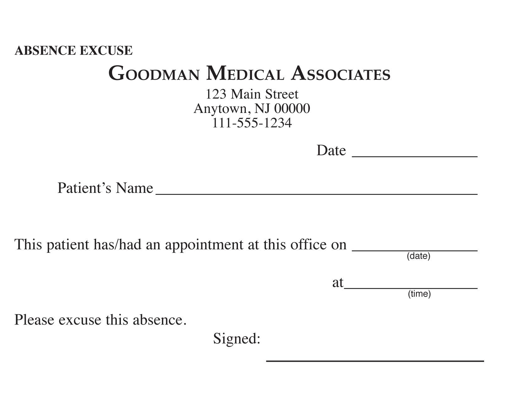Blank Printable Doctor Excuse Form | Keskes Printing - Mds - Free Printable Doctor Excuse Notes