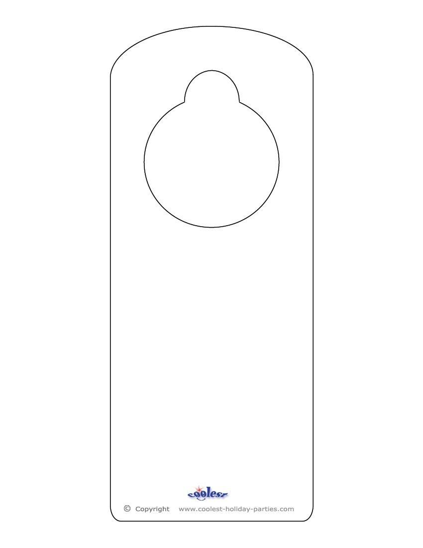 Blank Printable Doorknob Hanger Template | Templates | Doorknob - Free Printable Door Knob Hanger Template