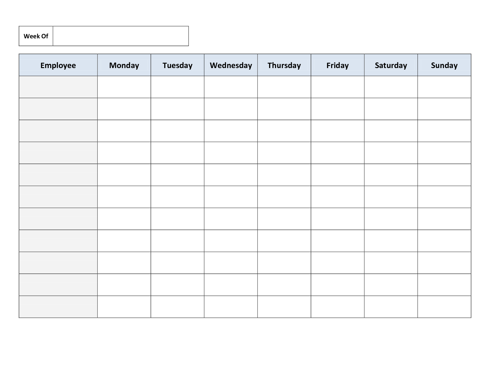 Blank Weekly Work Schedule Template | Schedule | Cleaning Schedule - Free Printable Weekly Work Schedule
