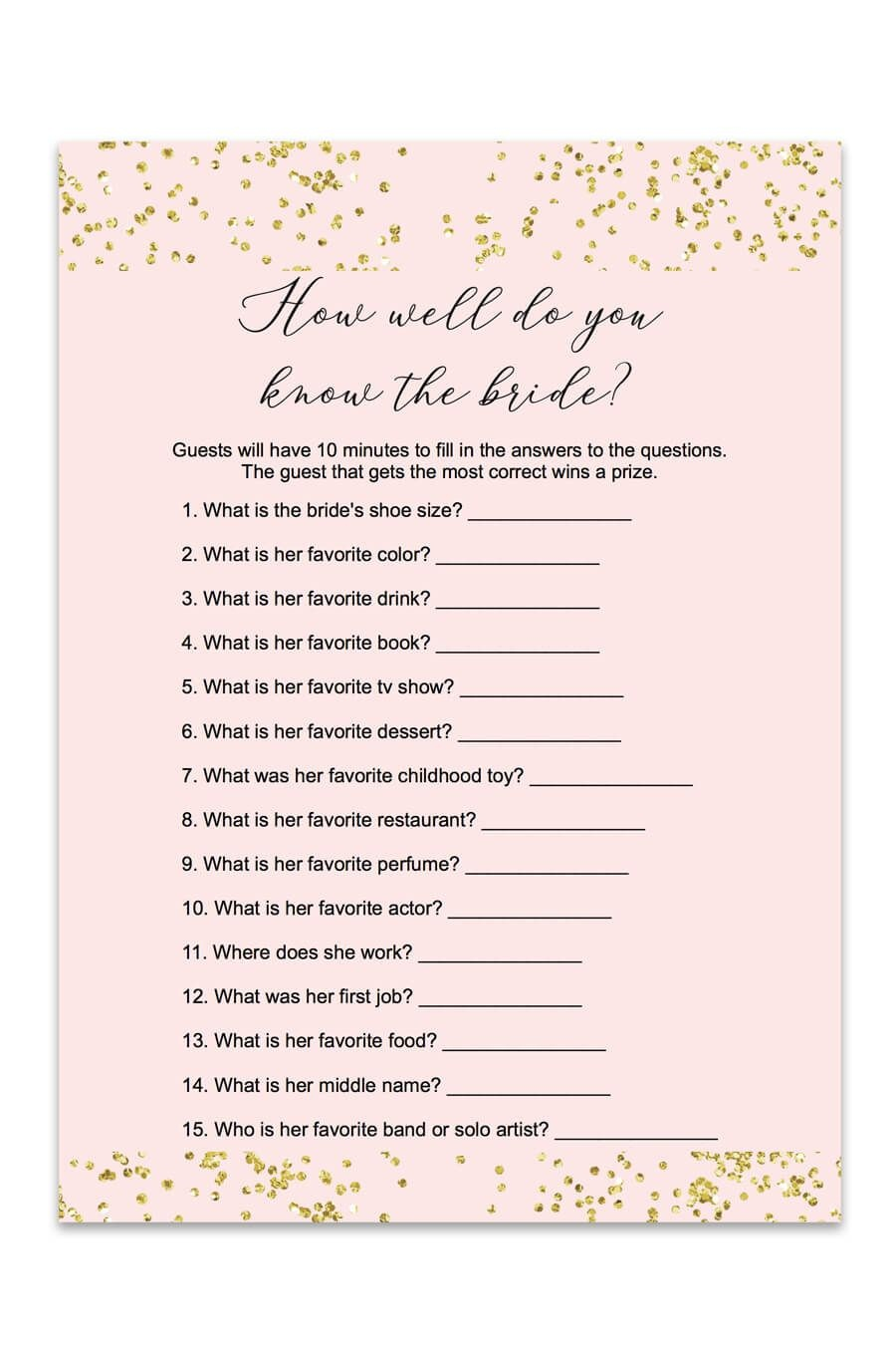 Blush And Confetti How Well Do You Know The Bride Game   Love<3 - How Well Do You Know The Bride Free Printable