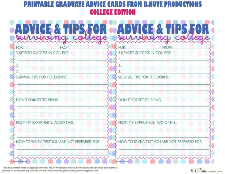 Free Printable Graduation Advice Cards