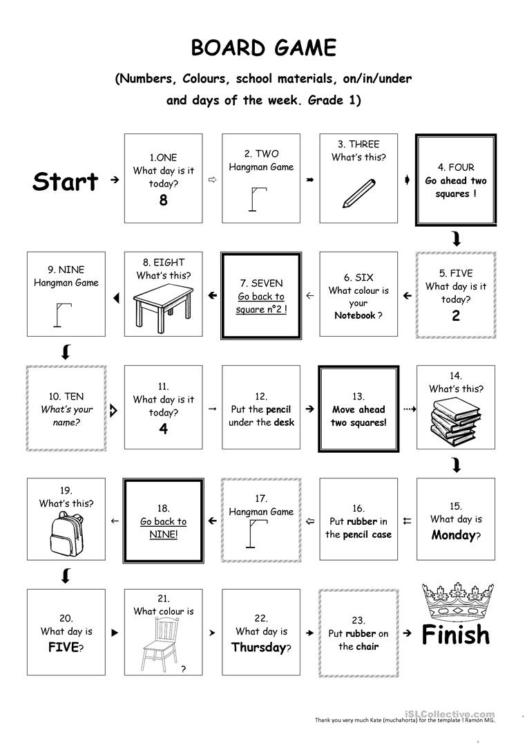 Board Game Grade 1 - Colours, Numbers, School Material, Etc - Free Printable Hangman Game