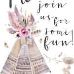 Boho Style Invitation (It's Free!) | Boho Baby Girl Shower | Free   Free Printable Teepee