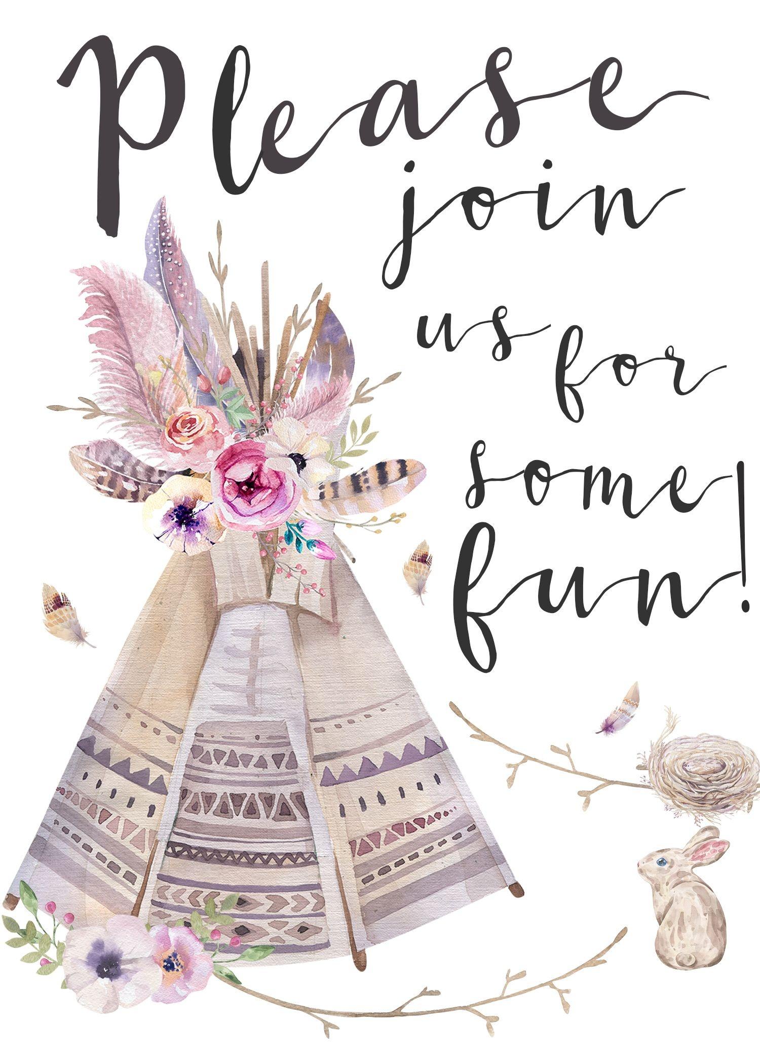 Boho Style Invitation (It's Free!) | Boho Baby Girl Shower | Free - Free Printable Teepee