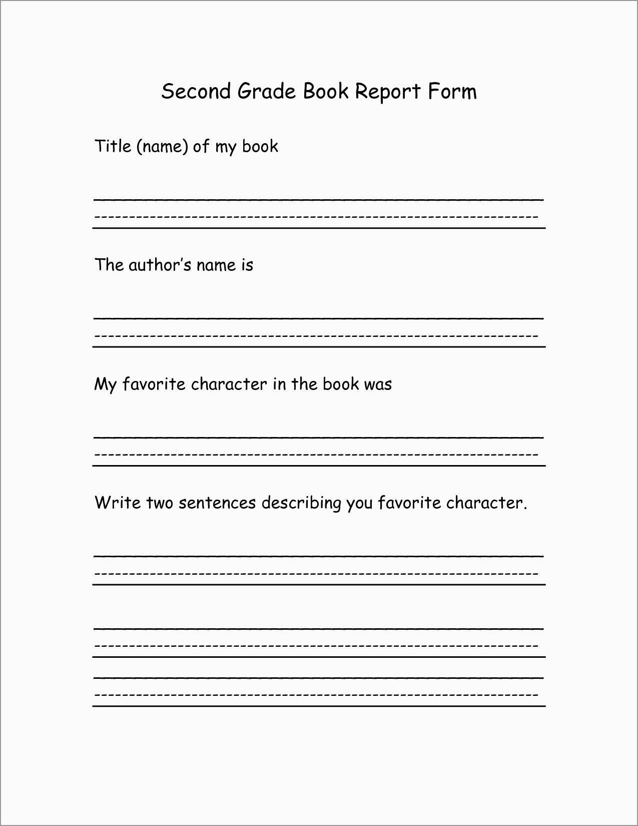 Book Report Template 2Nd Grade Free New 8 Best Of 2Nd Grade Book - Free Printable Book Report Forms