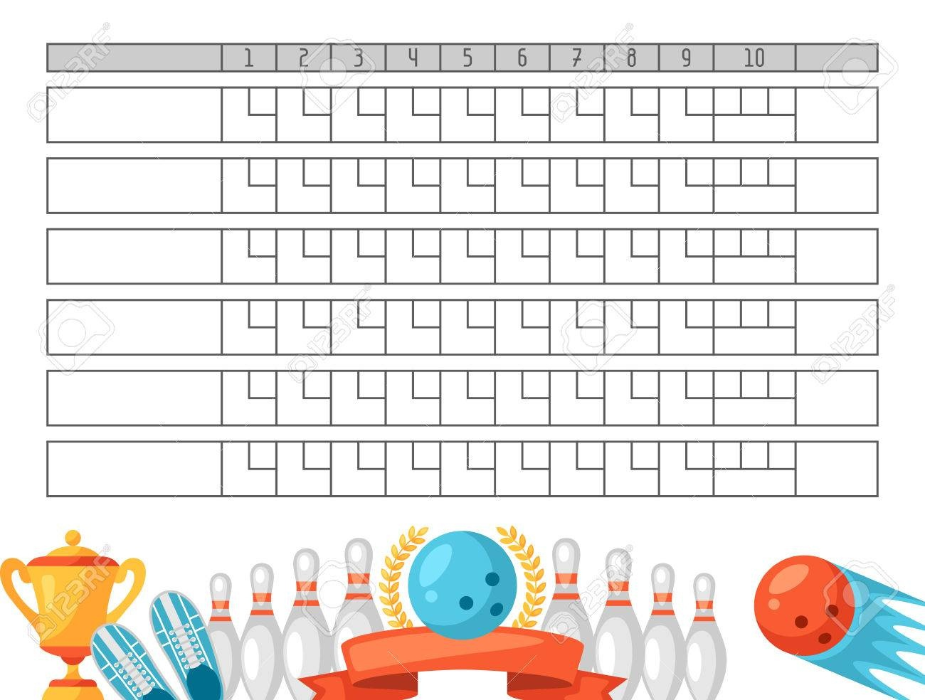Bowling Score Sheet. Blank Template Scoreboard With Game Objects - Free Printable Bowling Score Sheets