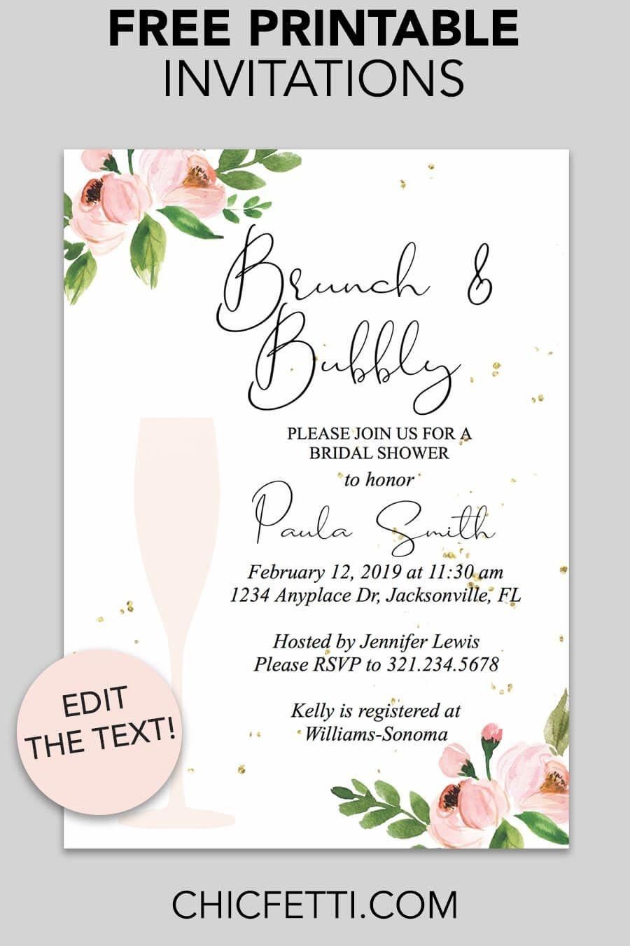 Bridal Shower Printable Invitation (Floral Bubbly   Invitations - Free Printable Wedding Invitations Templates Downloads
