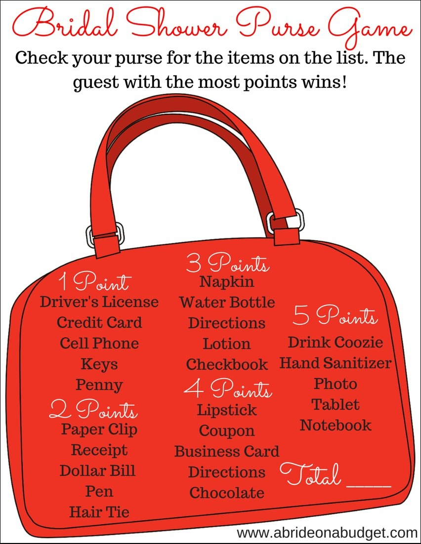 Bridal Shower What's In Your Purse Game (Plus A Free Printable) | A - Free Printable What's In Your Purse Game