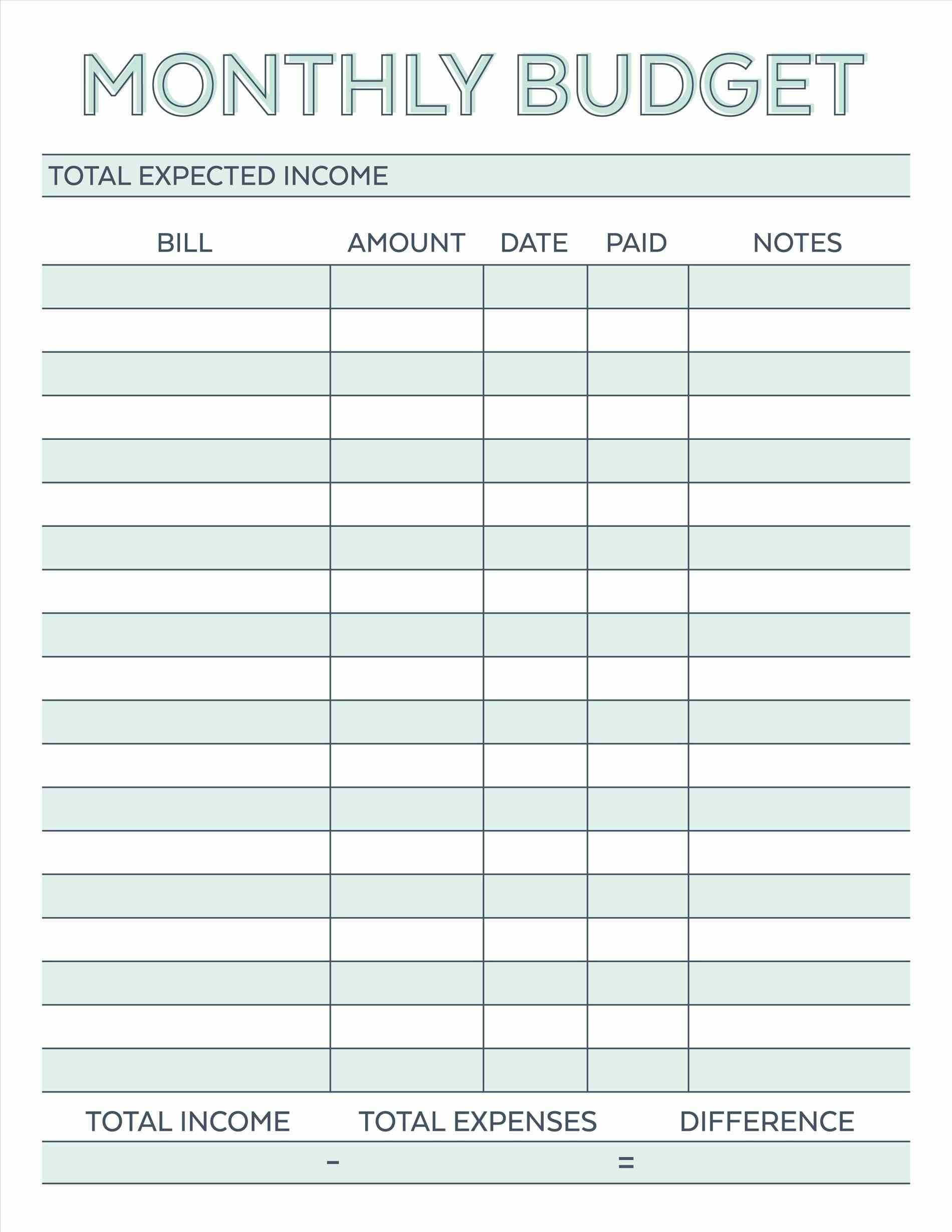 Budget Planner Planner Worksheet Monthly Bills Template Free - Free Printable Monthly Expense Sheet