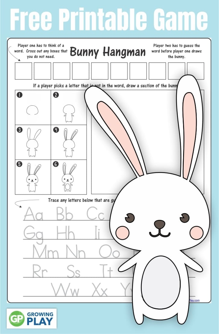 Bunny Game For Kids - Growing Play - Free Printable Hangman Game