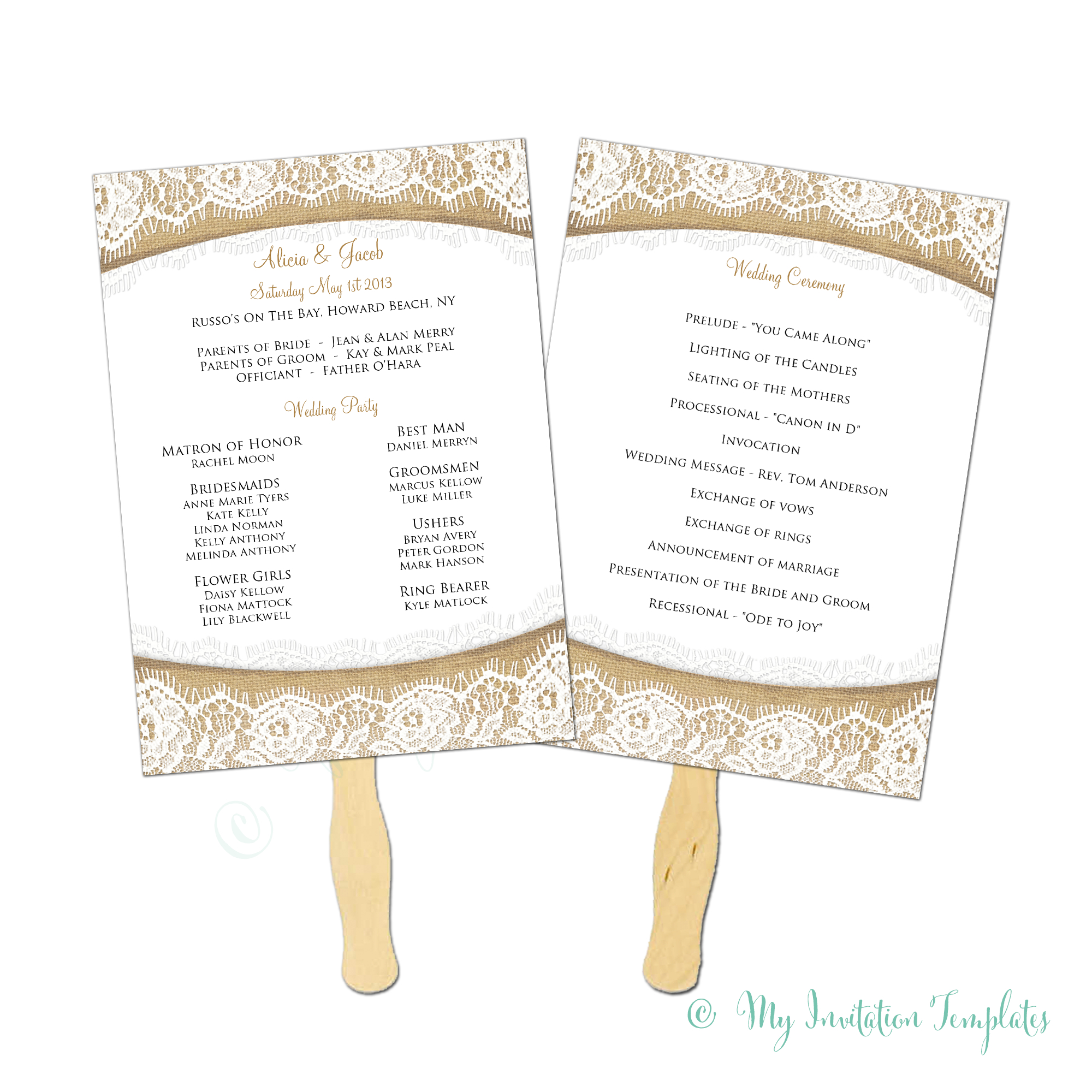 Burlap And Lace Rustic Wedding Program Fan Template - Instant - Free Printable Wedding Fan Templates