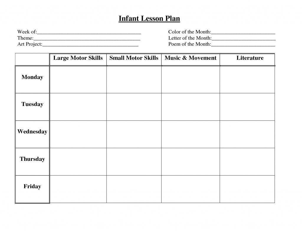Business Plancare Lesson Plans Infant Blank Sheets Plan Sample For - Free Printable Lesson Plan Template