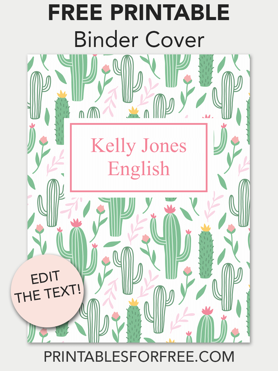 Cactus Printable Binder Cover | School | Printable Binder Covers - Free Editable Printable Binder Covers