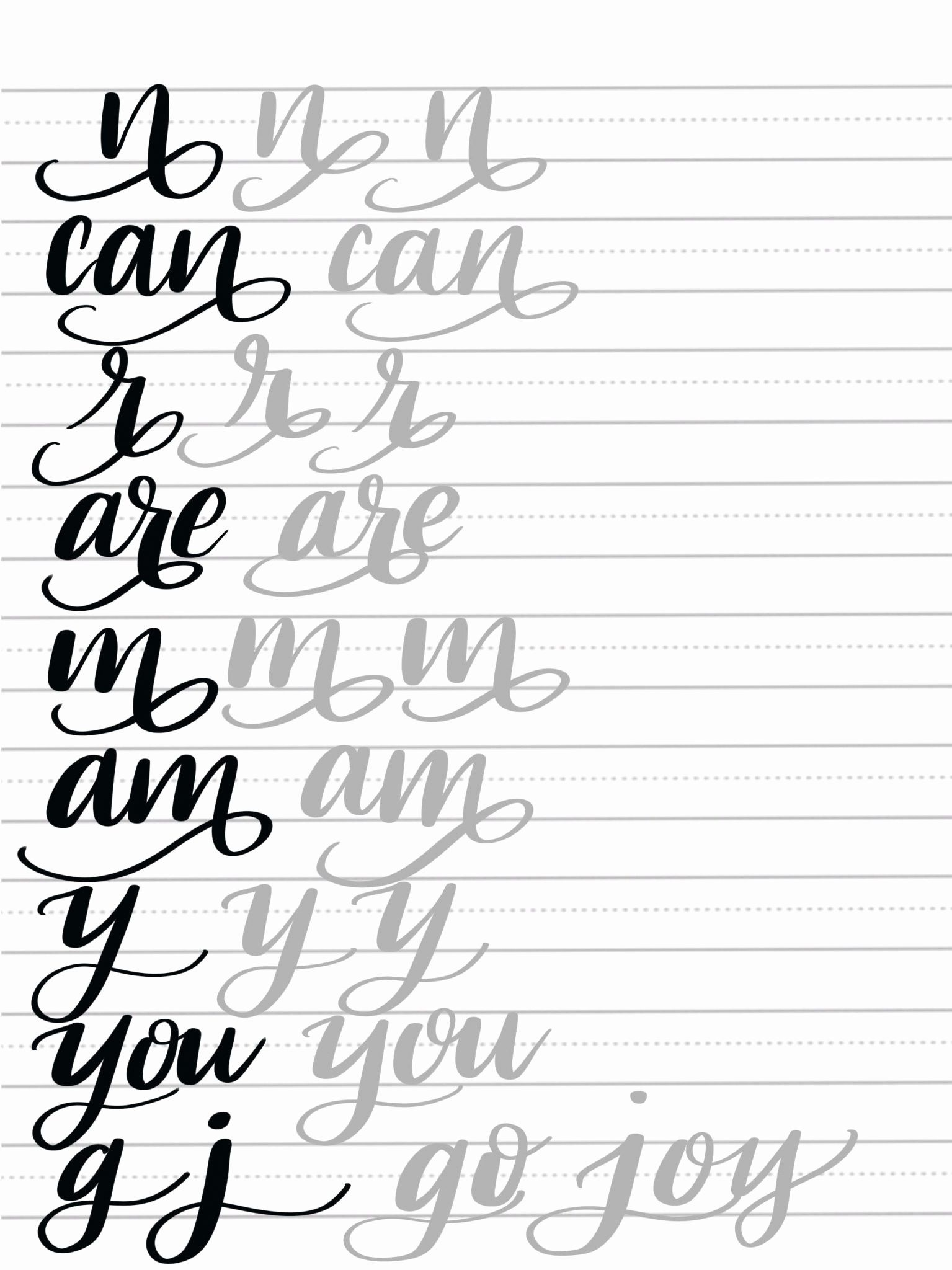 Calligraphy Letters Practice Sheets Fresh Hand Lettering Flourish - Calligraphy Practice Sheets Printable Free