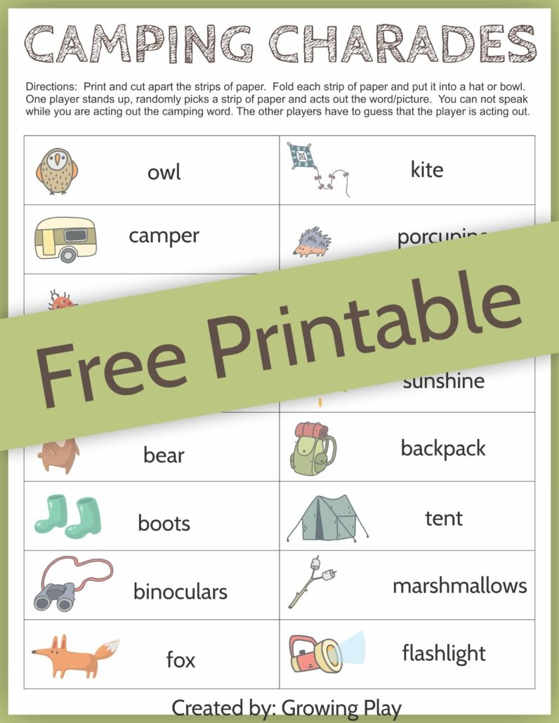 Camping Charades Game For Kids - Free Printable - Growing Play - Free Printable Camping Games