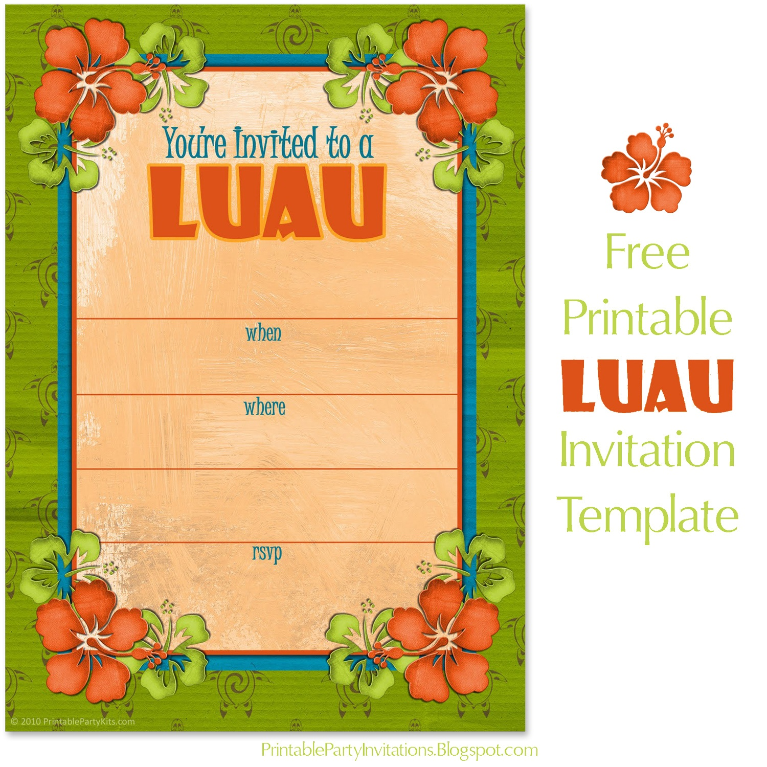 Can't Find Substitution For Tag [Post.body]--> Free Hawaiian Luau - Hawaiian Party Invitations Free Printable