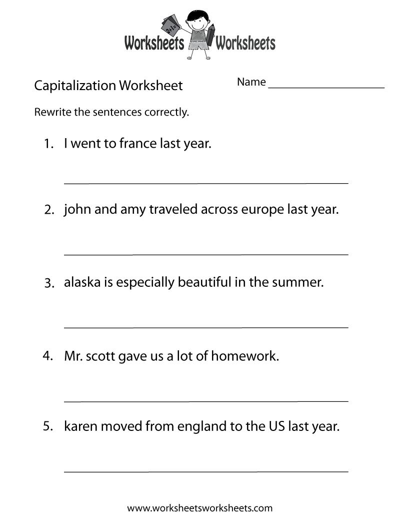 Capitalization Worksheets   Capitalization Practice Worksheet - Free - Free Printable Grammar Worksheets For Highschool Students