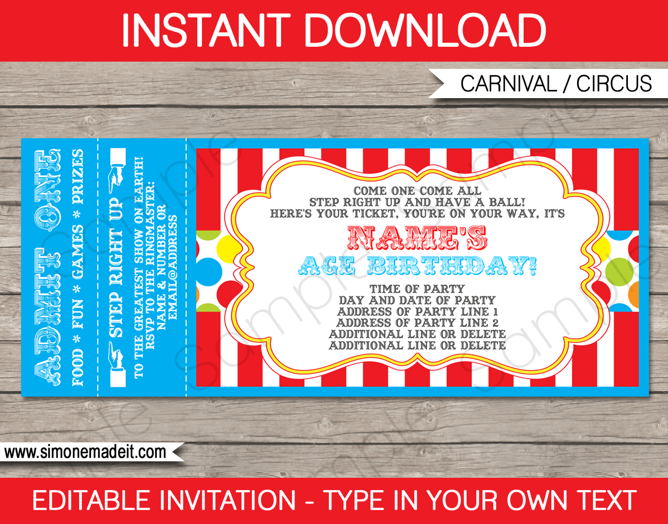 Carnival Party Ticket Invitation Template | Carnival Or Circus - Free Printable Ticket Invitations
