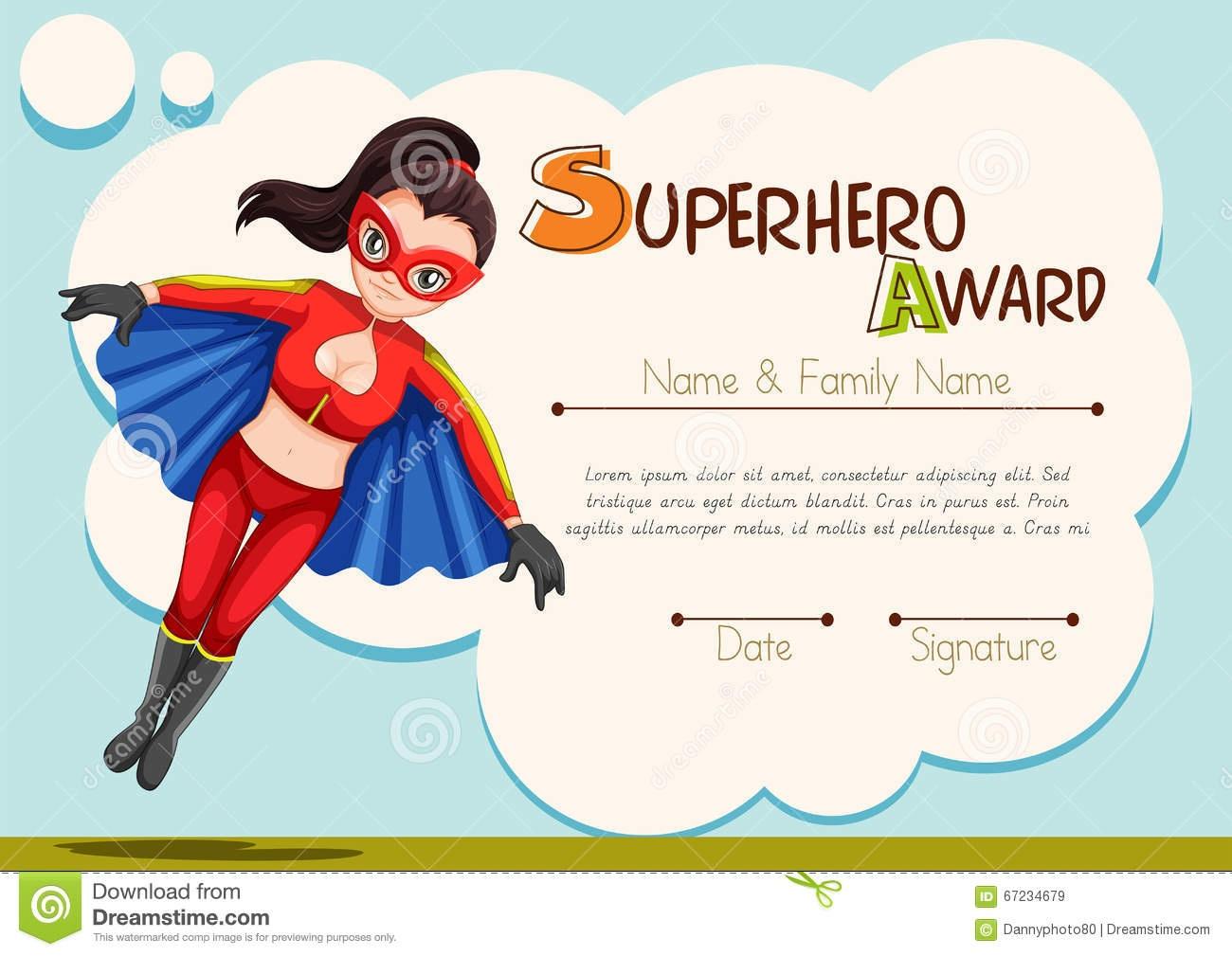 Certificate Design With Superhero Background Stock Illustration - Free Printable Superhero Certificates