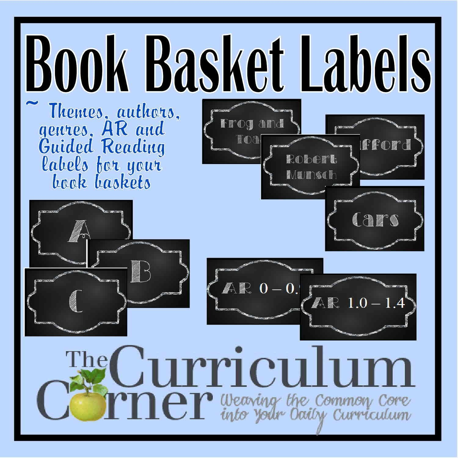 Chalkboard Themed Book Basket Labels | Organization | Book Basket - Free Printable Book Bin Labels