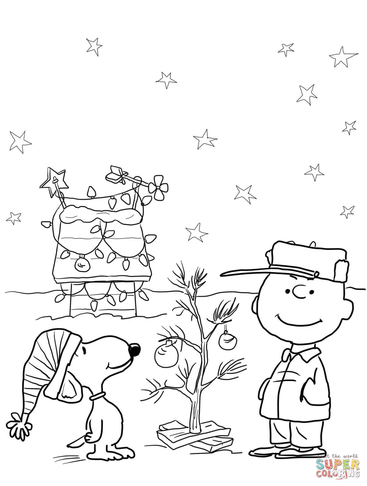 Charlie Brown Christmas Coloring Page   Free Printable Coloring Pages - Free Printable Christmas Cartoon Coloring Pages