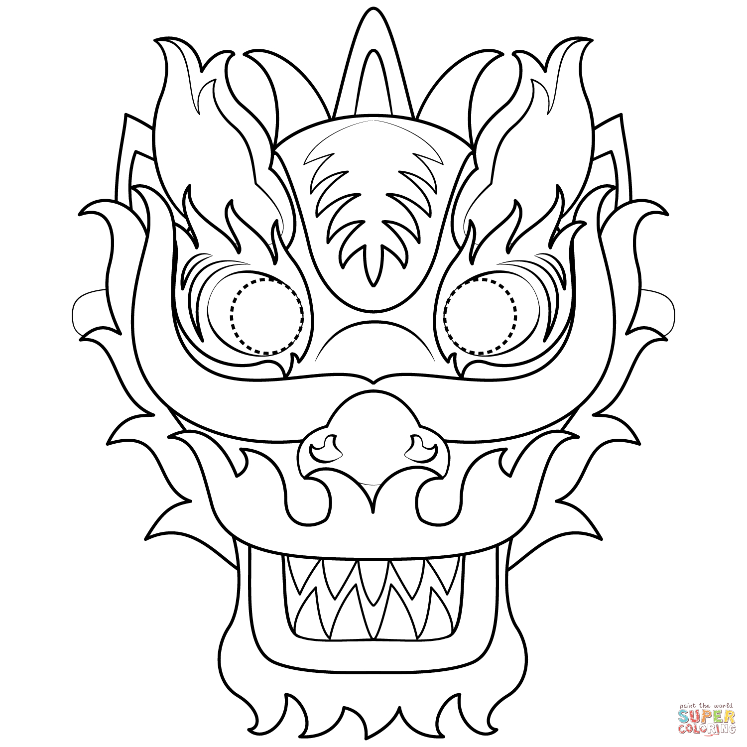 Chinese New Year Dragon Mask Coloring Page | Free Printable Coloring - Dragon Mask Printable Free